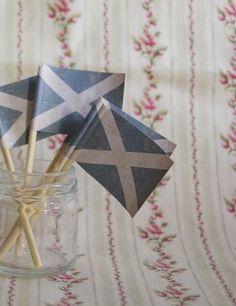 Saltire Set of 5 Mini Paper Scottish Flags  by British Cream Tea