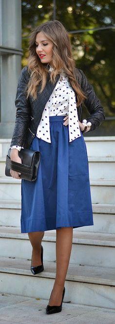 BIKER, MIDI & POLKA DOTS - denim midi skirt, polka dots blouse, black leather moto jacket, leather clutch, and pumps / Mi Aventura Con La Moda