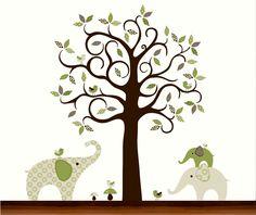 Green Pattern Tree with Elephants and Birds - Vinyl Wall Art Decal. $135.00, via Etsy.