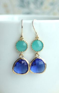 Mint Opal Framed Glass Drop Earrings