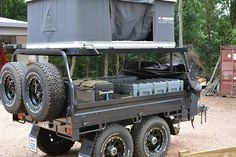 I couldn't figure out what it was at first. That is a great idea for a trailer. Diy Camper Trailer, Bug Out Trailer, Off Road Trailer, Camper Caravan, Bike Trailer, Camper Van, Adventure Trailers, Camp Trailers, Adventure Campers