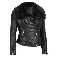 Black Rivet Faux-Leather Asymmetric Zip Jacket w/Faux-Mink Collar Was: $149.88                     Now: $74.98