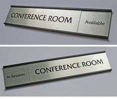 "10"" wide x 2"" high silver on silver sliding office door signs and conference room signs. Display the availability of any employee or room name. Metal frames and nameplates with open frame slider design. Free text personalization at no extra charge. Name Board Design, Sign Design, Office Sign Company, Name Boards, Sign Boards, Door Name Plates, Slider Design, Office Door Signs, Door Signage"