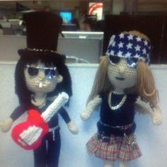 GUNS and ROSES, Slash and Axl Rose in crochet. https://www.facebook.com/DeniseOriginalCrochetedCreations?ref=hl