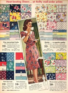 1940s fabric ad- love these colors and prints!