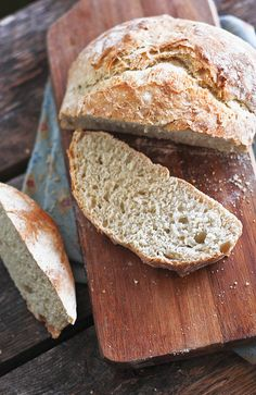 """No Knead bread, version from """"Artisan Bread in 5 Minutes a Day""""  It makes a large batch of dough that can be stored in fridge so that you can bake loaves daily if you want... no effort to do it."""