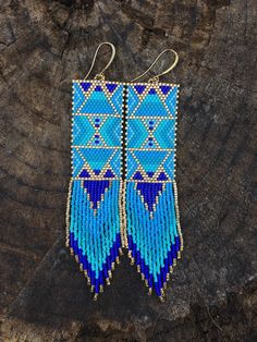 Temple of the four winds~Native American inspired beaded fringe earrings by TaurusHeart