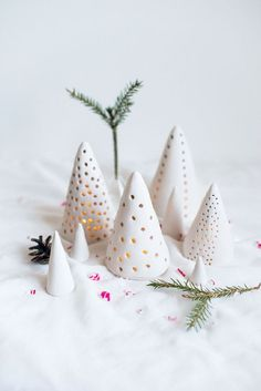 DIY Clay Candle Lantern Tutorial from Atilio. These DIY Candle Lanterns are made from air dry clay and lit by LED tea lights. (via diychristmascrafts) Clay Christmas Decorations, Cone Christmas Trees, Christmas Clay, Ceramic Christmas Trees, Christmas Projects, Handmade Christmas, Holiday Crafts, Christmas Ornaments, Cone Trees