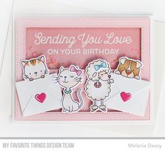 Sending Birthday Wishes Card Kit, Lucky Dog Stamp Set and Die-namics, Cool Cat Stamp Set and Die-namics, Essential Cover-Up -  Horizontal - Melania Deasy  #mftstamps