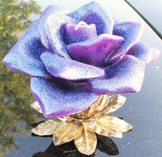 Purple Glittered Bloomed Rose Candle by ADKOR on Etsy, $4.99