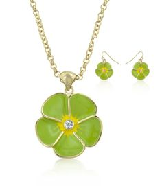Jewelry | Green Floral Necklace and Earrings Set 14k Gold Bonded Floral Earrings in Green Enamel with Bezel Set Round Cut Clear Crystals in Goldtone Necklace has 16 Inch Chain Included $29.95