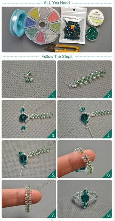 seed bead tutorials for beginners Diy Beaded Rings, Diy Jewelry Rings, Handmade Wire Jewelry, Bead Jewellery, Jewelry Crafts, Diy Rings, Beaded Crafts, Recycled Jewelry, Bead Earrings