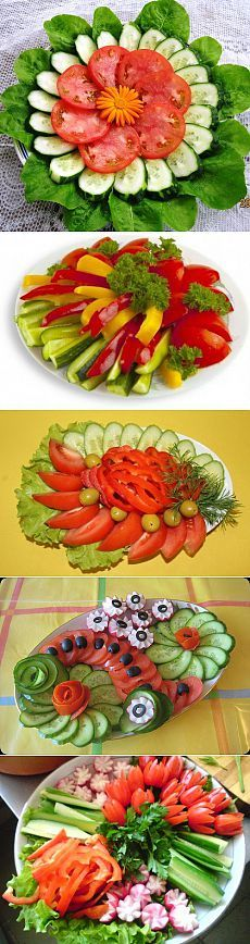Discover thousands of images about Beautiful design vegetable cuts Veggie Art, Fruit And Vegetable Carving, Vegetable Decoration, Food Decoration, Food Design, Raw Food Recipes, Cooking Recipes, Creative Food Art, Food Garnishes