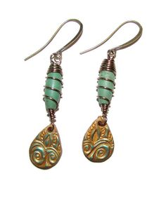 Rustic Stamped Teardrops and Turquoise Wire Wrap Barrel Earrings by BilliardDesigns on Etsy