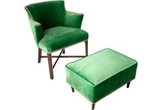 Vintage 1930s green velvet Chair & footstool <3