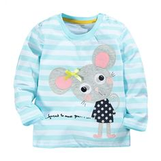 Spring Fall Baby Girls Tops Tees Cute Cartoon Mouse Children Clothes Cotton Long Sleeve Kids Girls T shirt years Girls Wear Girls Tees, Shirts For Girls, New Baby Girls, Kids Girls, Toddler Outfits, Kids Outfits, T Shirt Factory, Cartoon Elephant, Kids Tops