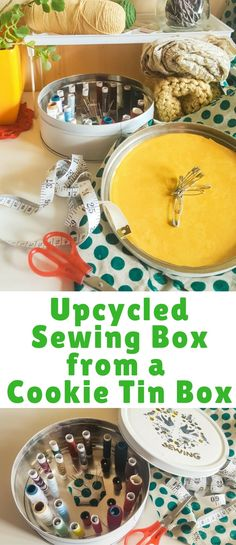 WITH JUST A FEW SCREW BOLTS AND SPRAY PAINT TRANSFORM ORDINARY COOKIE TIN BOX INTO VERY SPECIAL SEWING BOX TO HOLD YOUR THREADS, NEEDLES AND OTHER GOODIES. LET'S MAKE A WORLD A BETTER PLACE WHERE NO CHILD WILL BE HURT AGAIN BY FAKE COOKIE BOXES! THIS UPCYCLED SEWING BOX WILL SAVE THE FUTURE!