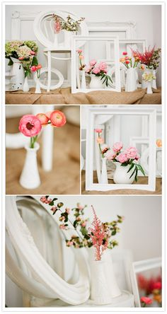 whit, frames, flowers, *sigh.....sublimely designed by Hatch Creative and shot by Jen Huang from #http://www.100layercake.com/