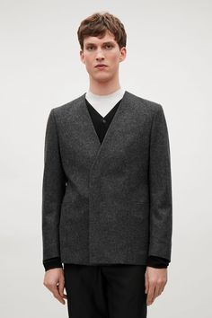 Collarless wool coat in Light Grey -COS | Clothing | Pinterest ...
