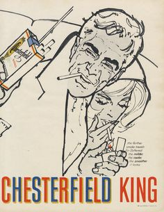1961 Chesterfield King Cigarettes Ad Couple by AdVintageCom