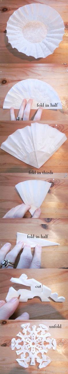Coffee Filter Snowflakes, I think I might try it with cupcake liners too for smaller snowflakes.
