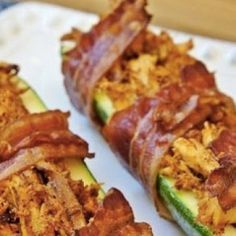 Bacon Wrapped Chicken Stuffed Zucchini - Delicious Recipe ___ More Recipes? Visit our site now! Banting Recipes, Low Carb Recipes, Cooking Recipes, Healthy Recipes, Bacon Recipes, Cat Recipes, Healthy Dishes, Delicious Recipes, Free Recipes