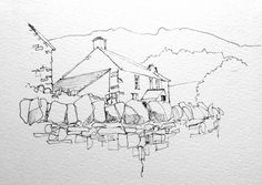 A quick(10 minute)line sketch of Langdale in the Lakes | by John Harrison, artist