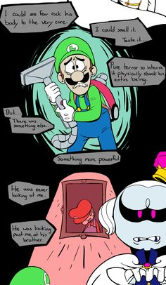 ((More detailed headcanons under the cut)) [[MORE]]((King Boo was entirely unprepared to deal with Mario and Luigi's incredible devotion to each other. He hadn't really even prepared for Luigi to come. Mario And Luigi Games, Mario Bros., Mario Kart, Video Games Funny, Funny Video Memes, Funny Games, Luigi Mansion, Nintendo Game, King Boo