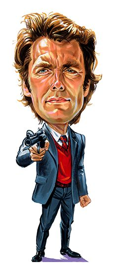 """Clint Eastwood as """"Dirty Harry"""" - Caricatures Funny Caricatures, Celebrity Caricatures, Clint Eastwood, Cartoon Faces, Funny Faces, Cartoon Drawings, Films Western, Caricature Drawing, Drawing Faces"""
