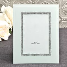 White Glass Frame with Silver