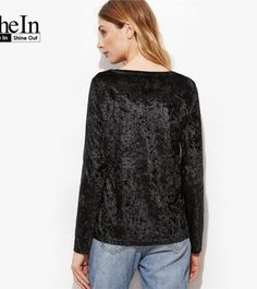 SheIn 17 Women Blouses Womens Tops Black Eyelet Lace Up V Neck Tie Neck Velvet Long Sleeve Vintage Blouse Sexy Top
