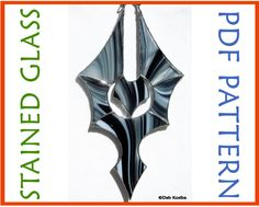Stained Glass Gothic Bat Suncatcher PDF Pattern. One of my favorite pieces to make, and I love how it looks with the Black & White Baroque glass!  Make one of your own! just click on the pic to get a pattern!
