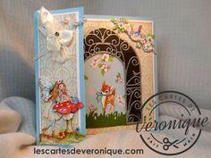 Carte 3D artisanale Bambi Fée rêveuse et jardin / Handcraft 3D card Bambi dreamy fairy and garden
