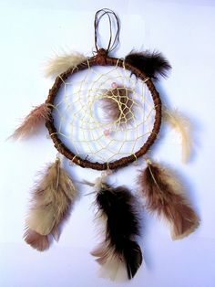 Natural Brown Dreamcatcher with Pink Beads by Rainbow Dreamcatchers, via Flickr