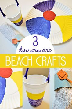 Beach crafts for kids to make as dinnerware! Use paper plates and cups to make beach themed dinnerware. Even a napkin ring from a toilet paper roll.