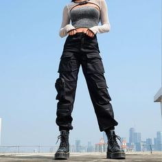 Gender: WomenMaterial: CottonLength: Full LengthClosure Type: Button FlyDecoration: PocketsWaist Type: HighFront Style: FlatPant Style: Cargo Pants Size Waist Width(cm) Hip Width(cm) Pant Length(cm) S 66 92 105 M 70 96 106 L 74 100 107