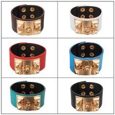 Rivet Leather Wide Bracelet