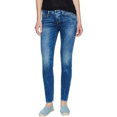 Levi's Made & Crafted Pins Sansa Skinny Jean ($99) ❤ liked on Polyvore featuring jeans, blue, ripped blue jeans, distressed jeans, destroyed denim skinny jeans, torn skinny jeans e faded blue jeans