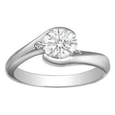 Modern Round Diamond Bezel Swirl Engagement Ring Setting with diamond accents in 14K White Gold