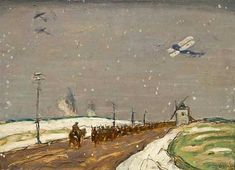 On The March, France 1918 by James Wilson Morrice. Canadian Painters, Canadian Art, Ww1 Art, James Wilson, World War I, Wwi, Urban Art, Art World, Painting & Drawing