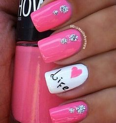 Bright pink with silver glitter dots and white with detail