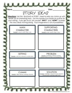 Building A Story - Creative Writing Outline (Graphic Organizer) - Directions… Writing Strategies, Writing Lessons, Writing Process, Teaching Writing, Writing Activities, Writing Tips, Writing Memes, Narrative Writing, Writing Workshop