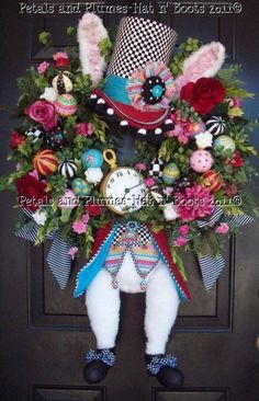 "Easter Wreath-Hatter Rabbit- One of my MOST Popular pieces last year- ""Easter Hat n' Boots Collection©"""