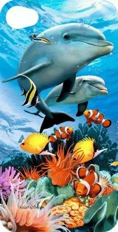 sea life - sea life photography - sea life underwater - sea life artwork - sea life watercolor sea l Dolphin Photos, Dolphin Art, Underwater Animals, Underwater Painting, Sea Life Art, Sea Art, Beautiful Sea Creatures, Wale, Delphine