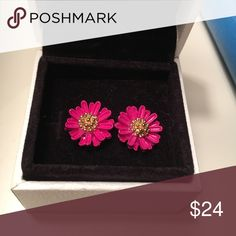 Francesca's Hot Pink Flower Stud Earrings These adorable flower earrings are hot pink with a mustard yellow center. in excellent condition, only worn two or three times. Francesca's Collections Jewelry Earrings