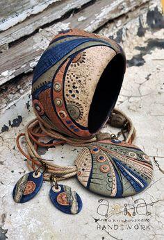 Anna Krichevskaya, polymer clay bangle and pendant necklace.