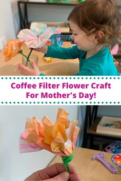 Here is a project I used to do with my three to six-year-olds in the Montessori classroom. We used to do this coffee filter flower craft project for Valentine's Day and Mother's Day. It is also a great project for Spring, Easter, a birthday, or for the parts of a flower lesson. Stem Projects For Kids, Spring Art Projects, Crafts For Kids, Craft Projects, Montessori Art, Montessori Classroom, Toddler Preschool, Toddler Activities, Coffee Filter Flowers