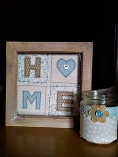 Handmade machine sewn box frame HOME picture and tea light holder using Laura Ashley & Moda fabrics, lace and buttons Home Projects, Sewing Projects, Fabric Pictures, Home Pictures, Heart Art, Laura Ashley, Tea Light Holder, Box Frames, Tea Lights
