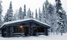 Rustic Cabin during a snow storm
