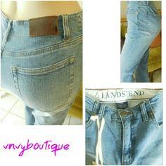 LANDs' END CURVY FIT JEANS Land's End Jeans? Size 2P? New with tags? classic waist; curvy fit? stretch denim? Boot Leg? Medium wash? 5 Pocket? 98% Cotton 2% Spandex? Lands' End Jeans